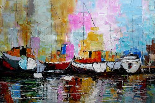 abstract, abstract painting, boats, boats abstract, abstract boat painting