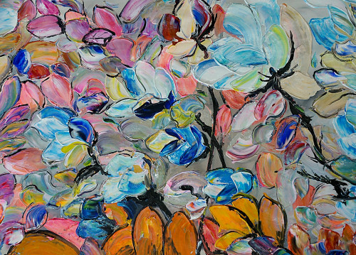 abstract, multi color abtract, petlas, flower, flower petals, texture, textured painting