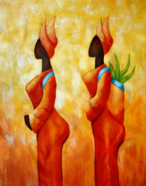 abstract,tribal lady, lady, woman, tribal, tribal painting, girl, two ladies, tribal ladies, ladies working