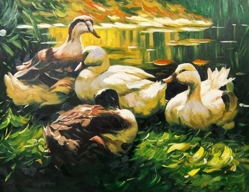 animal, animal painting, birds, bird painting, duck, painting of duck, ducks, duckling, pair of duck, many duck, duck in pond