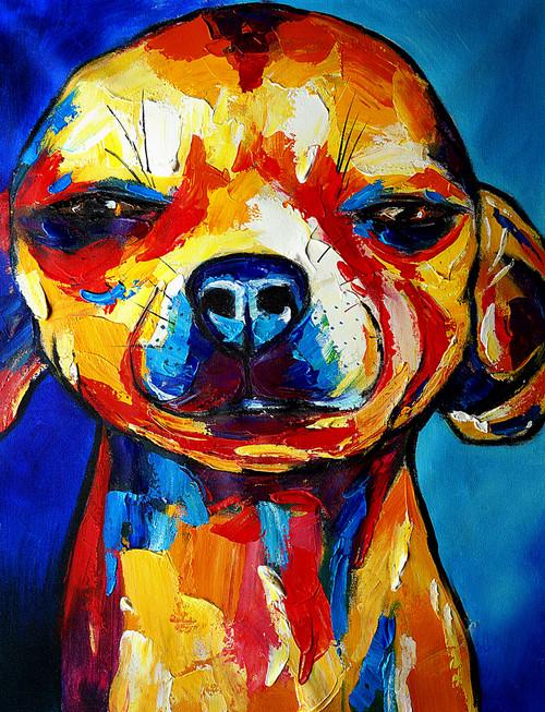 animal, animal painting, dog, dog painting, multi color dog, pup, puppy, doggie