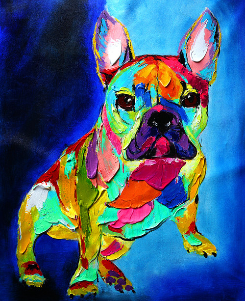 animal, animal painting, dog, dog painting, multi color dog, pup, puppy, doggie, blue