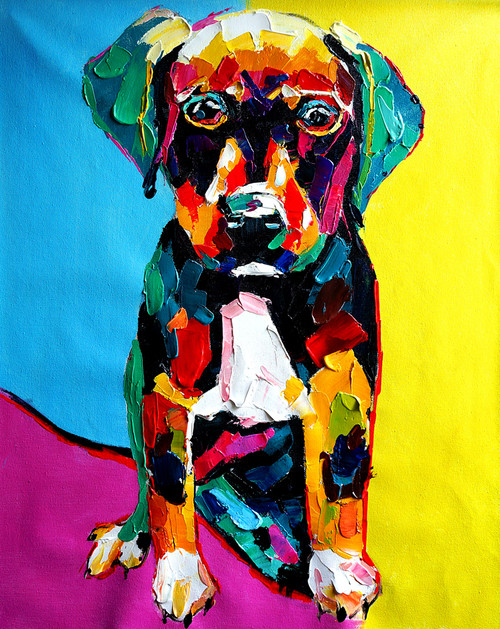animal, animal painting, dog, dog painting, multi color dog, pup, puppy, doggie, cute