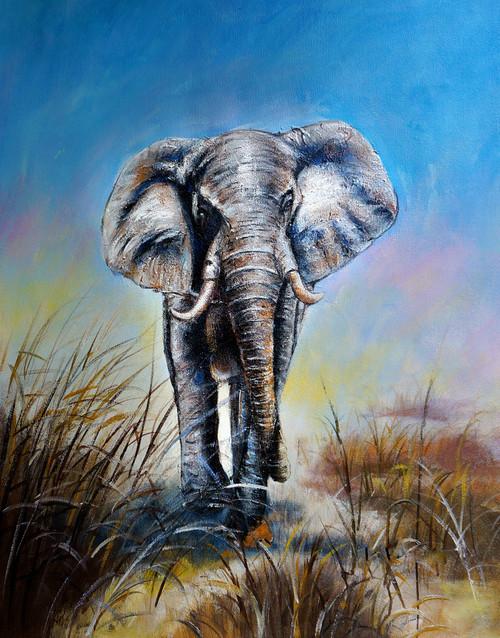 animal, animal painting, wild life,elephant , elephant painting, elephant in forest, elephant walking,wlaking elephant painting