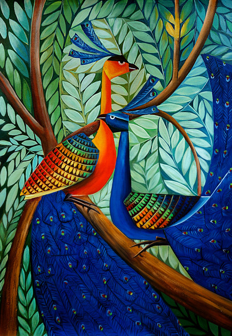 animal, animal painting, bird, birds, peacock, peacock painting, painting of the peacok on tree