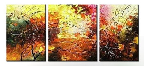 The Royal Foliage - 52in X 24in (Details Inside),RTCSB_53_5224,Oil Colors,Museum Quality - 100% Handpainted,Multipiece Paintings,Modern art,Floral,Flower - Buy Painting Online in India.