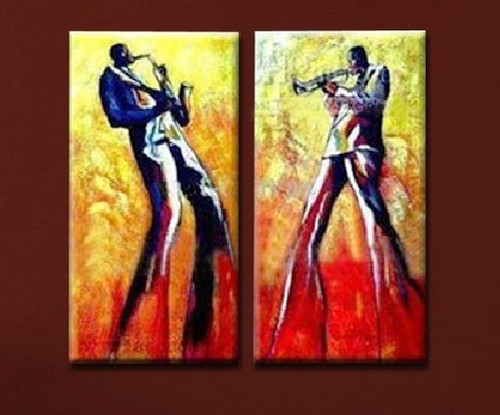 Jazz Men - 32in x 32in (16in x 32in x 2pcs),RTCSB_11_3232,32in x 32in (16in x 32in x 2pcs),Oil Colors,Canvas,Modern Art,Community Artists Group,Jazz,Music,multipiece,Museum Quality - 100% Handpainted
