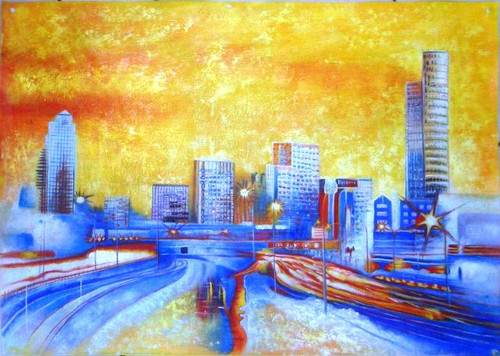 Rush Hour - 36in X 24in,41Melbourne05_3624,Landscape and Seascape;Melbourn city,Community Artists Group,Canvas,Oil Colors,Sydney,Beautiful city,City at night,High towers,Museum Quality - 100% Handpainted