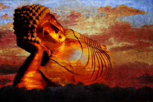 Reclining Buddha - 36in X 24in,25Buddha57_3624,God,Buddha hidden in our mind,,Community Artists Group,Canvas,Oil Colors,Beautiful,Museum Quality - 100% Handpainted
