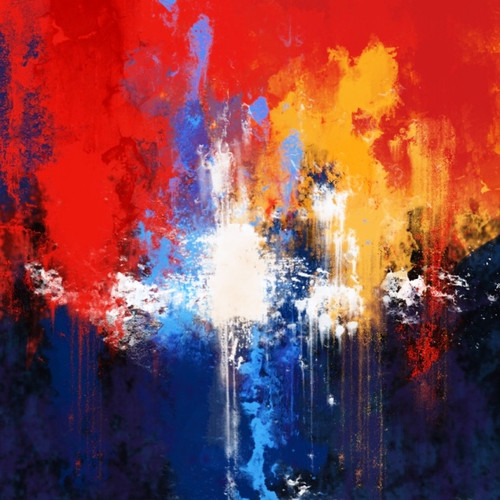 Ray Of Light - 32in X 32in,34ABT47_3232,Community Artists Group,Aqua,Wave,Red,orange,blue,Canvas,Oil Colors,Abstract,Pattern,Design,Stroke,Museum Quality - 100% Handpainted