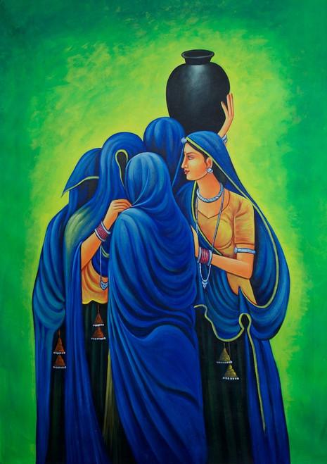 rajasthani paintings,Lady,Women,Mob,Crowd,Rajasthani Women,Blue Ghagara,Green Back Ground,lady with Matki
