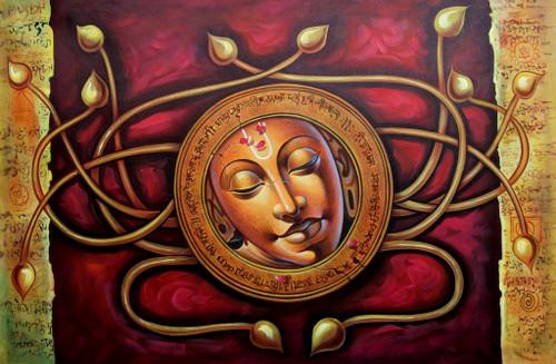 Krishna,Red Krishna,Murlidhar,Circle,Floral Art,Golden Floral Art,Gopal