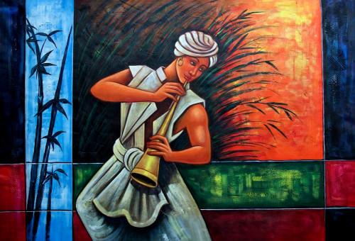 man, man playing music, man playing trumpet, indian man, man in dhoti,music, musical instrument