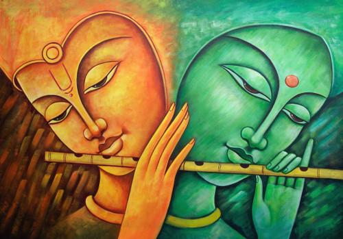 Krishna, lord krishna,krishna with flute, abstract  krishna, radha krishna, radha with krishna