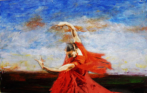 ballet dance ,Blue Background,Red Dress Dancer,Dance,