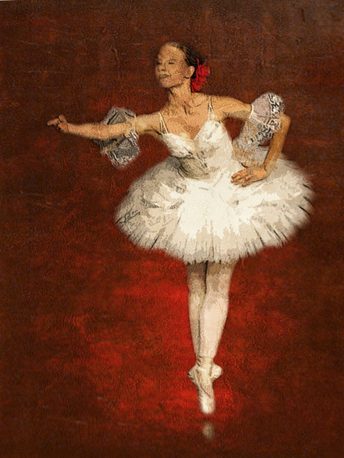 ballet dance ,Red Background,White Dress Dancer