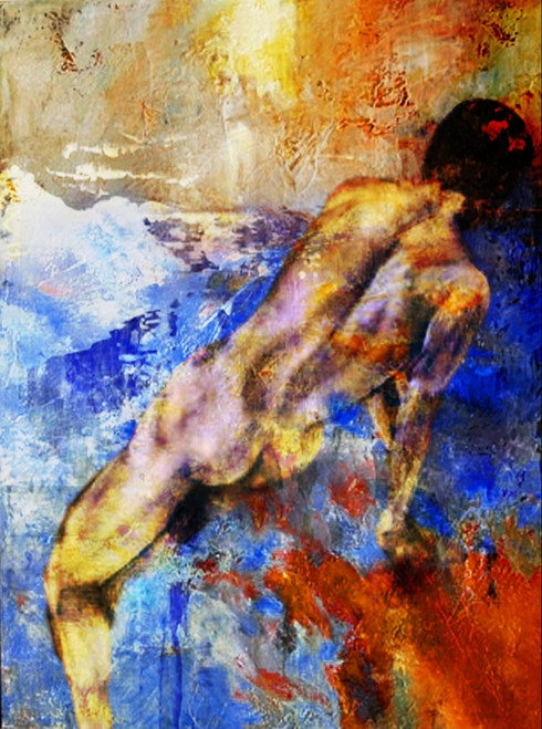 Women with red,orange,Blue background shades,Back Beauty,Nude Art