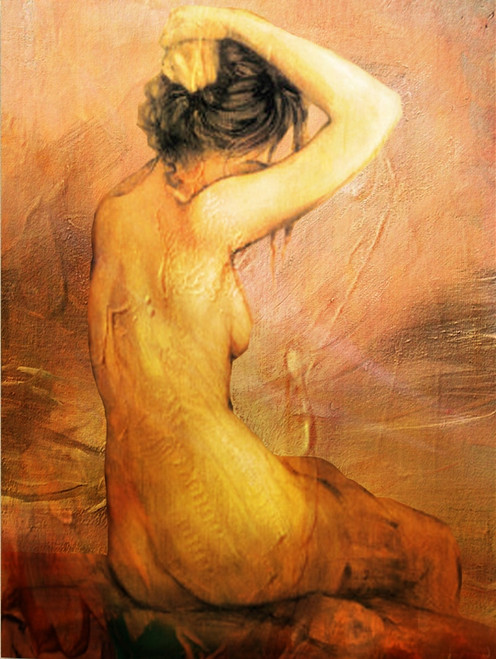 Women with red,background shades,Back Beauty,Nude Art