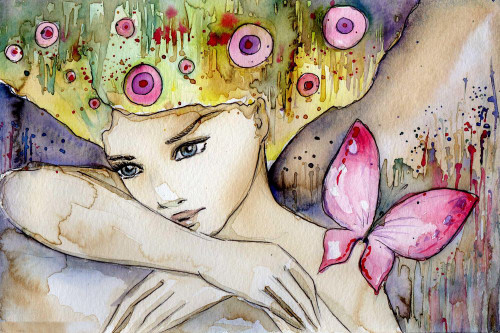 girl, lady, woman, girl with flower, blossom, girl with blossom, butterfly, winged beauty,