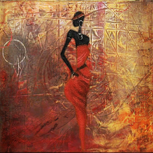 Tribal Flow 2 - 32in X 32in,28African05_3232,Community Artists Group,Canvas,Oil Colors,Beautiful,Museum Quality - 100% Handpainted,Modern Art,Figurative,Tribal Lady,Standing Lady - Buy Painting Online in India.