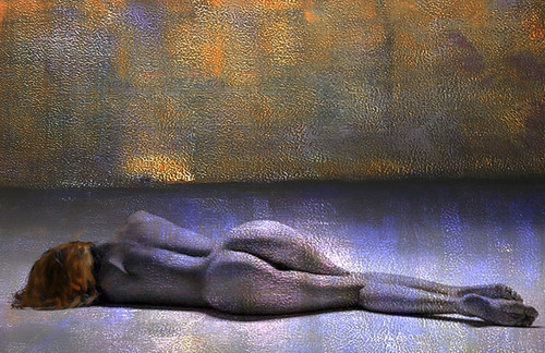 Nude Painting,Nude Lady,Women,Model,Pose,Bare Body,Blue ,Violet Shades