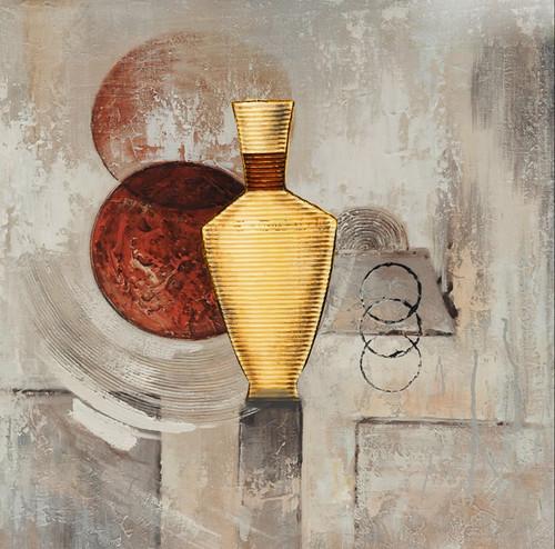 Fgolden Vase,Golden Pot,Gold Vase with Red Circle