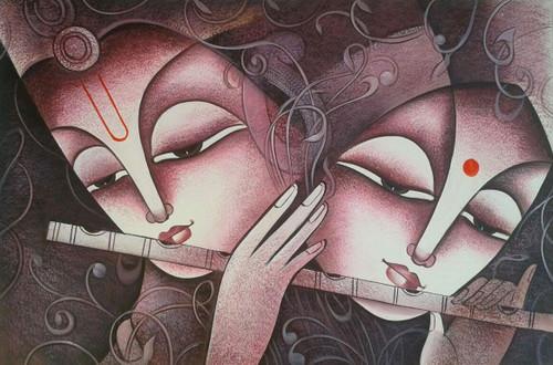 krishna, radha krishna painting, lord krishna, radha, krishna with flute