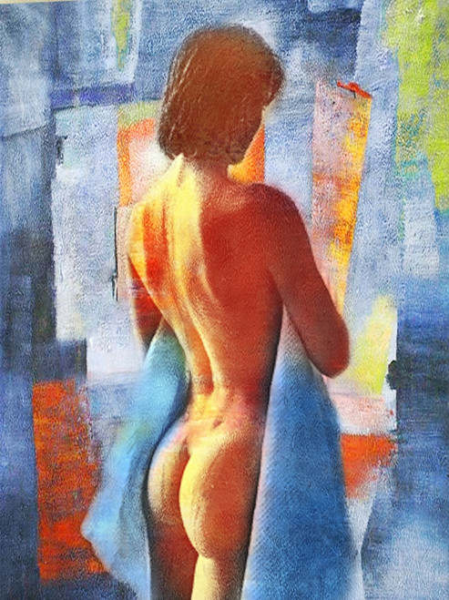 Nude Painting,Bared Body,Female,Women,Pose,Blue,Violet background shades,Beauty,After Bath
