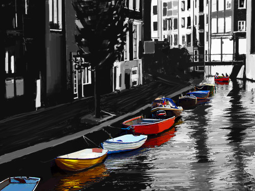 Venice Black and White - 40in X 30in,28Landscape43_4030,Community Artists Group,Canvas,Oil Colors,Beautiful,Museum Quality - 100% Handpainted,Modern Art,Landscape,Riverside Scene,Boating,Boat Club,Boat - Buy Painting Online in India.