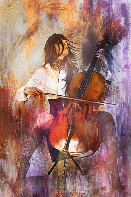 Determinism - 24in X 36in,28Music08_2436,Community Artists Group,Canvas,Oil Colors,Beautiful,Museum Quality - 100% Handpainted,Figurative,Lady with Violine,Musical Instrumnet,Music - Buy Painting Online in India
