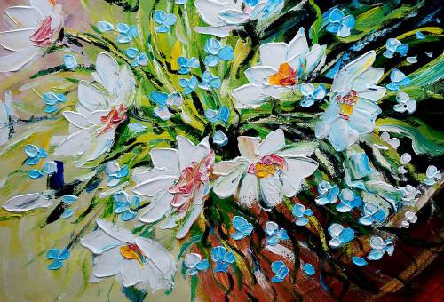 flower, blossom, white flower, white blossoms, blue blossoms