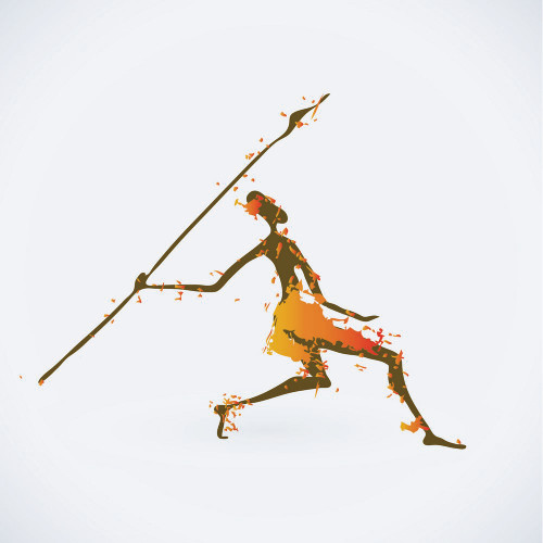 figurative, man, man throwing spear, spear, tribal man, tribal, tribe