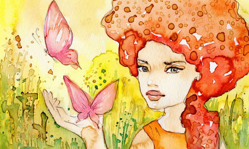 lady, girl, woman, girl with butterfly, butterfly, pink butterfly, two butterflies, girl with flower