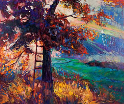 landscape,tree, forest, ladder, ladder near tree, grass, tree with grass