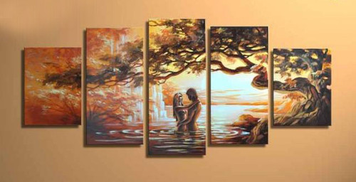 Heaven of Love - 52in X 32in (Details Inside),Oil Colors,Museum Quality - 100% Handpainted,Multipiece Paintings,Tree - Buy Painting Online in India.