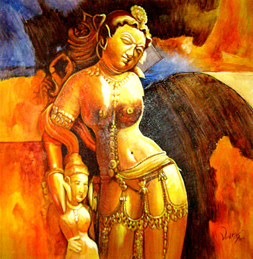 lady, sculpture painting, ajanta painting, ajanta sculpture painting