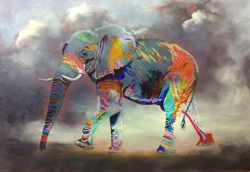 animal, elephant, multi color elephant, elephant, baby elephant