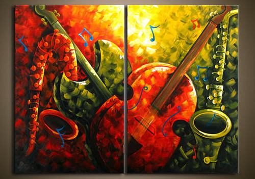 Music 13 - 32in X 24in (16in X 24in each X 2Pcs) ,RTCSB_64_3224,Oil Colors,Museum Quality - 100% Handpainted,Multipiece Paintings,Tree - Buy Painting Online in India.
