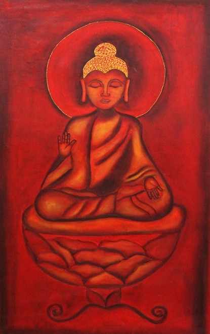 Red Buddha 02 -  24in x 36in,DISH9_2436,Buddha,Peace,Karuna,Rs.2990,Buddha;Latest Collection;ArtistDehashri Singh, By Orientation and Sizel/Large (33in to 40in);Full Collection