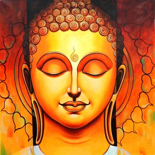 Orange Buddha -  30in x 30in,ART_FIZCLR01_3030,Buddha,Peace,Karuna,Buddha;Latest Collection;Full Collection