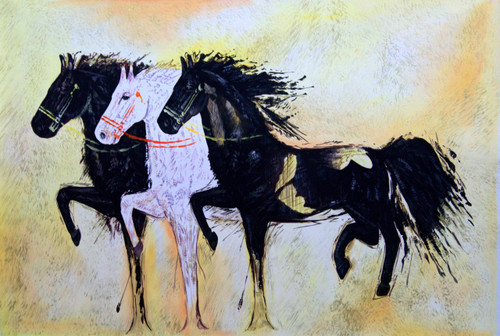 Racing - 36in X 24in,RAJMER02_3624,Acrylic Colors,Horse painting,Race of horses,Three horses - Buy Paintings online in India