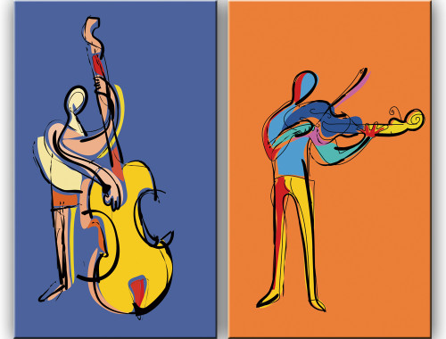 Playing Music,Guitar,Two Man,Orange ,Purple,Musical Note,Music Insrument