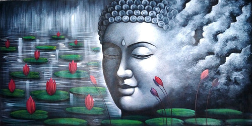 Grey Buddha - 48in X 24in,RAJMER05_4824,Acrylic Colors,Buddha,Peace,Meditation - Buy Paintings online in India