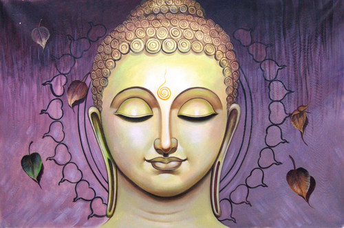 Buddha in Purple - 36in X 24in,RAJMER06_3624,Acrylic Colors,God,Buddha Painting - Buy Paintings online in India