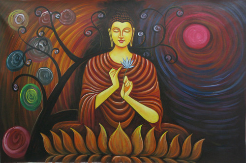 Buddhism - 36in X 24in,RAJMER08_3624,Acrylic Colors,Buddha,Peace,Meditation - Buy Paintings online in India