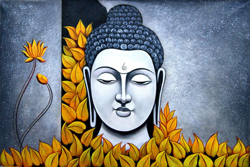 Buddha in Yellow Flowers - 36in X 24in,RAJMER12_3624,Acrylic Colors,Buddha,Peace,Meditation - Buy Paintings online in India