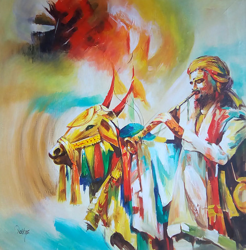 cow, festival in india, festival with cow, man, man with cow, musical instrument, man with musical instrument