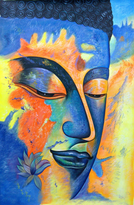 Buddha with Yellow Shades - 24in X 36in,RAJMER14_2436,Acrylic Colors,Buddha,Peace,Meditation - Buy Paintings online in India