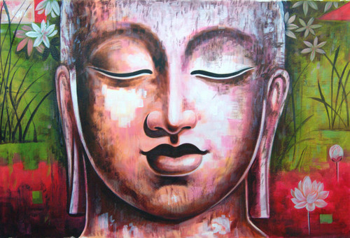Buddha in Meditation - 36in X 24in,RAJMER17_3624,Acrylic Colors,Buddha,Peace,Meditation - Buy Paintings online in India
