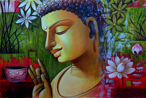 Buddha in Meditation02 - 36in X 24in,RAJMER18_3624,Acrylic Colors,Buddha,Peace,Meditation - Buy Paintings online in India